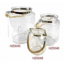 Lampion szklany Garden – średni z uchwytem