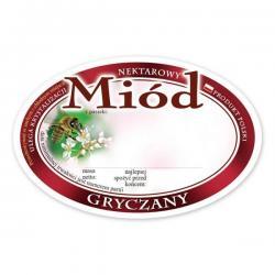 Paczka etykiet owalnych na miód gryczany – 100 szt.