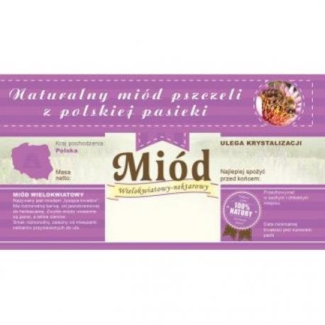 Paczka etykiet z banderolą na miód wielokwiatowy – 100 szt.