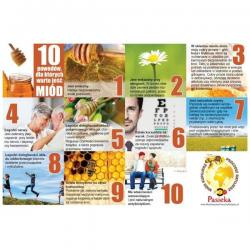 """Naklejka na tablicę reklamową - """"10 powodów dla których warto jeść miód"""""""