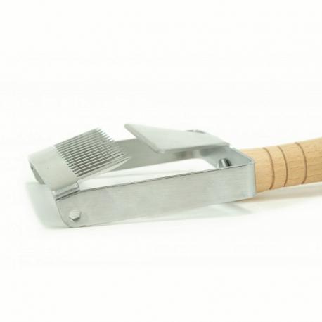Odsklepiacz widelcowy nierdzewny z dystansem, rączka drewniana